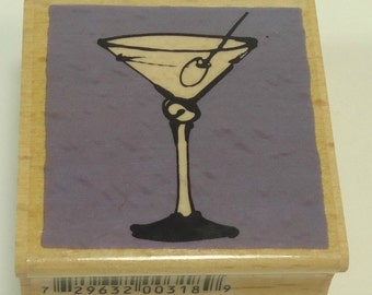 Martini Wood Mounted Rubber Stamp By Vap Scrap