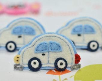 NEW! 4pcs handmade felt Car--ivory (FT457)