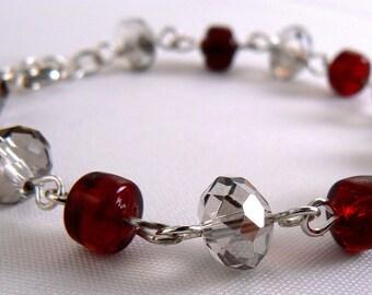 Smokey Red Crystal Bracelet, Sparkly Black Diamond Crystal Bracelet, Red Bead Link Bracelet, Lightweight Everyday Crystal Bracelet (2216)