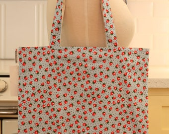 Book Bag Tote Purse - Small Strawberries on Blue