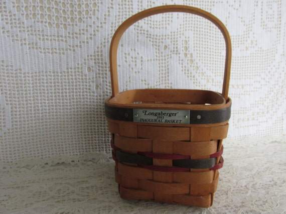 Handmade Baskets From Ohio : Vintage longaberger inaugural basket with handle