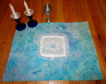 Batik and lace Challah cover with lace Star of David aqua lavendar -- Jewish wedding, anniversary, Shabbat