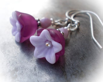 Small purple flower earrings silver Dainty little lavender floral earrings dangle earrings for women tiny bell flower drops handmade jewelry