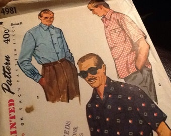1950's Era Simplicity 4981 Mens Size Small Sport Shirt Pattern