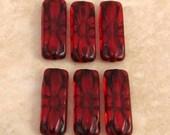 Czech Glass Engraved Cushion Beads, Ruby, Red, Black, 20x8 MM, 6 Pc. C391