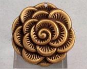 Blooming Flower Pendant, Brass Ox, 29 MM, Trinity Brass, AB96