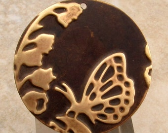 Embossed Brass Butterfly Pendant, 34 MM, E75