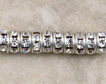 Silver Rhinestone Rondelle Spacer, 4.5 mm, Crystal 12 Pc. C374