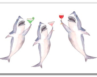One celebrating sharks card, congratulations card, shark card, anniversary shark card, nautical wedding great white  card