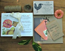 Garden Wedding Invitation, Mushroom Butterfly Wedding Invitation, Rustic Wedding Invites, Vintage Botanical Design