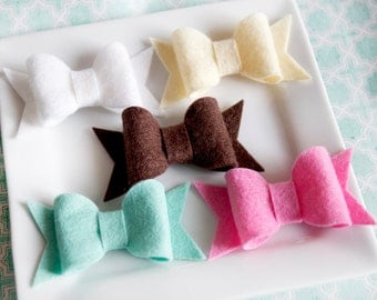 Wool Felt Blend Chunky Bow Felt Hairbow Mint Brown Ivory White Pink Set of 10 (2 of Each)