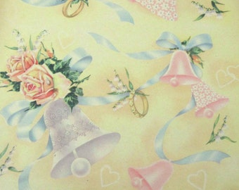 Vintage Wedding or Bridal Shower Wrapping Paper or Gift Wrap with Flowers Bells Rings Hearts Pink Roses and Ribbons