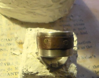 UR Sterling Copper and Brass Riveted ring
