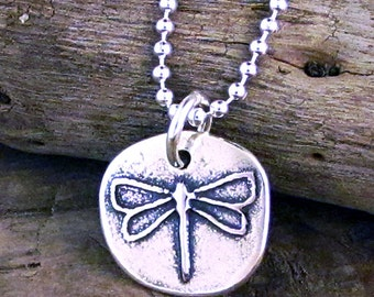 Silver Dragonfly Necklace - Embrace Change Message Jewelry - Dragonfly Charm Inspirational Jewelry