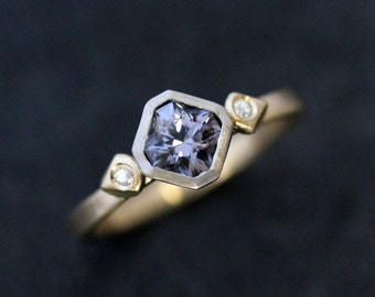 Blue Spinel & White Moisannite Engagement Ring, 14k Yellow and White Gold Mixed Metal Engagement Ring,Recycled Gold with Diamond Alternative
