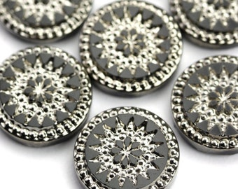 Glass Cabochons Fancy Floral 14mm Jet Black and Silver (1) GC028