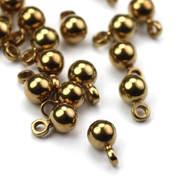 metal bead drops solid brass charms 4mm 12 m025