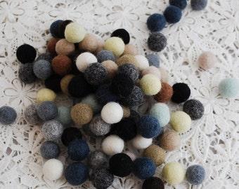 1.5cm - 100% Wool Felt Balls - 100 Count - Assorted Neutral Colors