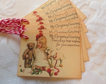 CHRISTMAS IN JULY Christmas Gift Tag - set of 9 - Vintage Girl With Teddy