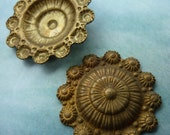 Vintage Brass Stampings, 1940s Ornate Round Rococo or Art Nouveau Bohemian Style Shield Findings, Unplated, 20mm, 2 pcs. (C17)