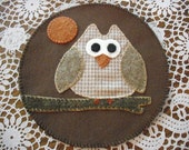 OWL- Hand Stitched Penny rug/ Candle Mat