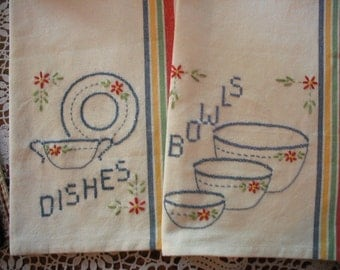 Hand Stitched Tea Towels-Kitchen Towels- Wedding/Anniversary Gift Set of 2