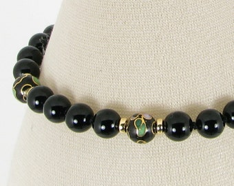 Handknotted Black Onyx, Cloisonne, and Gold Bracelet