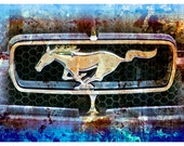 Mustang Horse Surreal Photograph Man Cave Decor Man Artwork Teal Silver Light Blue Purple Beige Brown Classic Car Fine Art 5 x 7 Photography