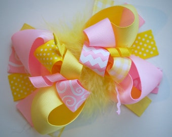 boutique FUNKY fun light PINK and YELLOW easter chick hair bow clip