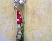 Moss Terrarium Mushroom Tiny glass Bottle Necklace
