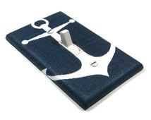 Navy Blue Anchor Light Switch Cover Nautical Decor Nautical Nursery Decor Switchplate Switch Plate