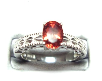 Red labradorite sterling silver ring