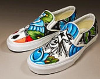 Custom women's or men's SlipCustom mens slip on Vans sneakers hand painted mens size 12 design pin up tattoo