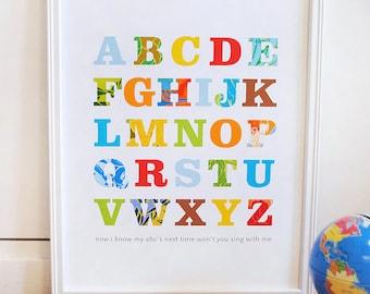 Alphabet Print, primary colors, modern wall art, nursery decor, baby print, kids room, modern nursery print, ready to ship, 8x10 SET