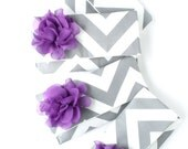 Set of Grey Chevron Bridesmaid Clutches, Purple and Gray Wedding, Personalized Bridal Party Bags