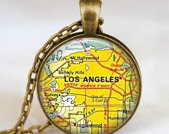 Los angeles california map necklace,LA map pendant, Los angeles map jewelry , map pendant jewelry  with gift bag