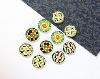 10pcs handmade assorted geometric round clear glass dome cabochons 12mm (12-0324)