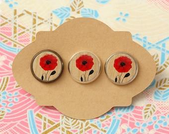 10 pcs handmade red flower - earrings, pendant, ring - 12mm (PW-9703)
