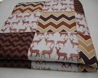 Meadow Deer in Brown with Chevron Minky Blanket You Choose Size and Minky Color MADE TO ORDER No Batting