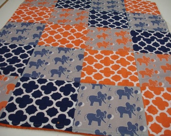 Elephant and Mouse Let's Be Friends Navy and Orange Minky  Blanket MADE TO ORDER No Batting