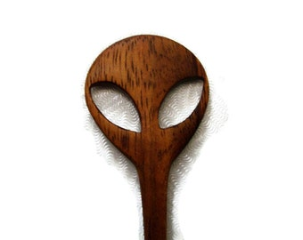 Alien Head Hair Stick/Shawl Pin Handmade from Paducak Wood ooak/