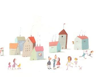 city  Original painting