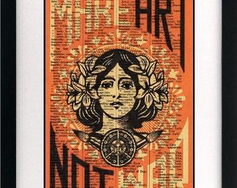 vintage art print make art not war vintage dictionary print vintage book page print unique gift
