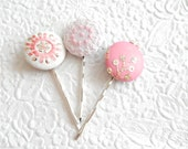 3 pink mix hair-pins, embroidered hairpins, fabric hairpins, 1 1/8 inch hairpins, hair accessory, womens accessory