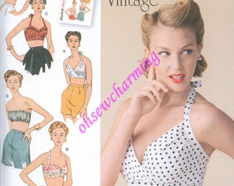 1950s Simplicity 1426 Sewing Pattern Vintage Style Sizes 14-16-18-20-22 Halter Tops Bra Top Reissued Rockabilly PLUS