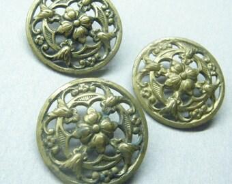 Antique Buttons,  Gold Metal, flower buttons, floral buttons,  Set Of 3