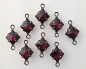 Garnet Faceted Square Glass Stones 2 Loop Brass Ox Setting 6mm (8) squ014MM2