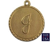 Raw Brass Letter J Initial Charm Drop with Loop (1) chr190J