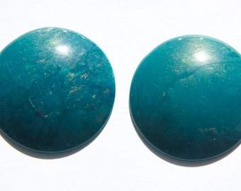 Vintage Teal Iridescent  Acrylic Cabochons 30mm (4) cab848A