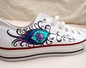 Wedding Hand Painted Converse - Peacock Feather Design - Low Tops